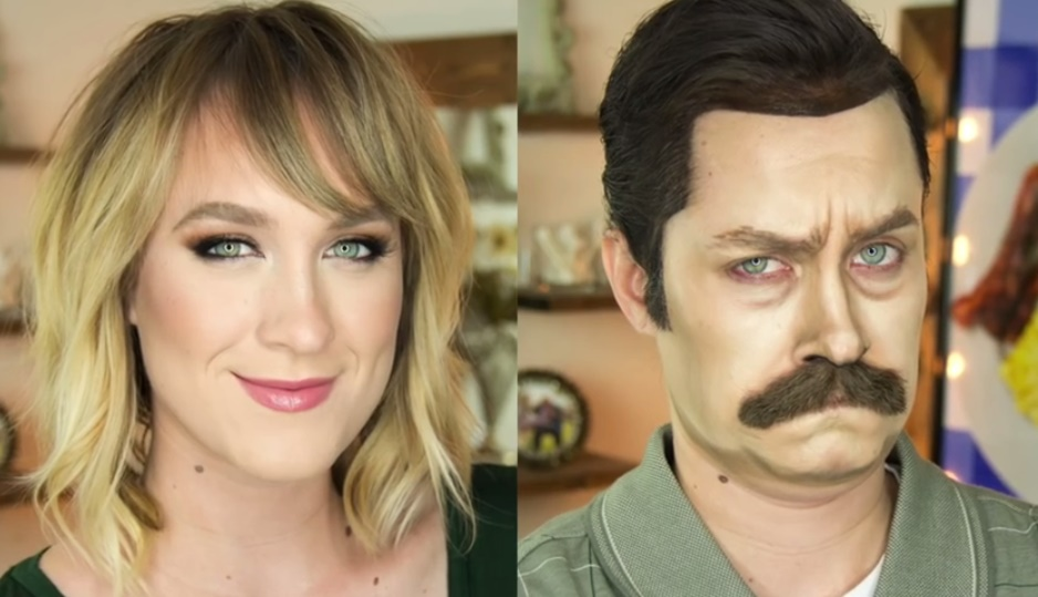 Makeup Artist Transform Herself Into Ron Swanson